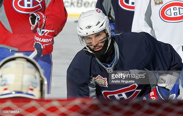 Brian Gionta of the Montreal Canadiens skates during the practice session the day before the 2011 NHL Heritage Classic at McMahon Stadium on February...