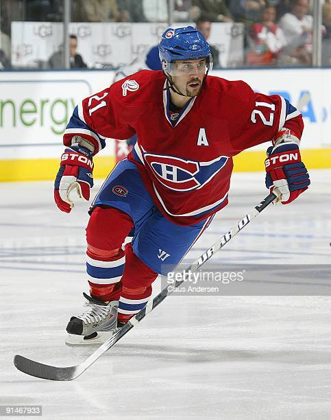 Brian Gionta of the Montreal Canadiens skates in a game against the Toronto Maple Leafs on October 1 2009 at the Air Canada Centre in Toronto Ontario...
