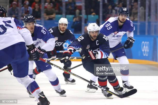 Brian Gionta of the United States skates for the puck against Slovakia during the Men's Playoffs Qualifications game on day eleven of the PyeongChang...