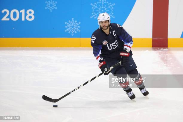 Brian Gionta of the United States warms up prior to the Men's Ice Hockey Preliminary Round Group B game against Slovakia at Gangneung Hockey Centre...