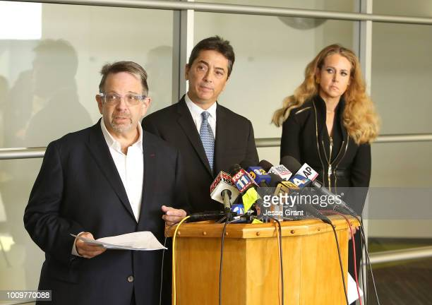 Brian Glicklich Scott Baio and Jennifer McGrath attend a news conference to discuss harassment allegations on August 2 2018 in Woodland Hills...