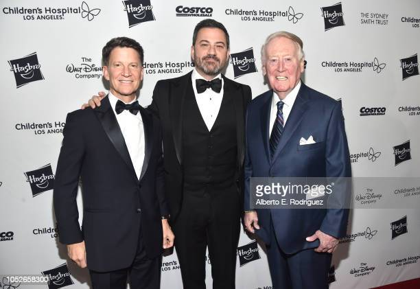 Brian Goldner Jimmy Kimmel and Vin Scully attend the 2018 Children's Hospital Los Angeles 'From Paris With Love' Gala at LA Live on October 20 2018...