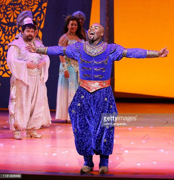 Brian Gonzales and Michael James Scott attend Aladdin Broadway curtain call at New Amsterdam Theatre on February 21 2019 in New York City