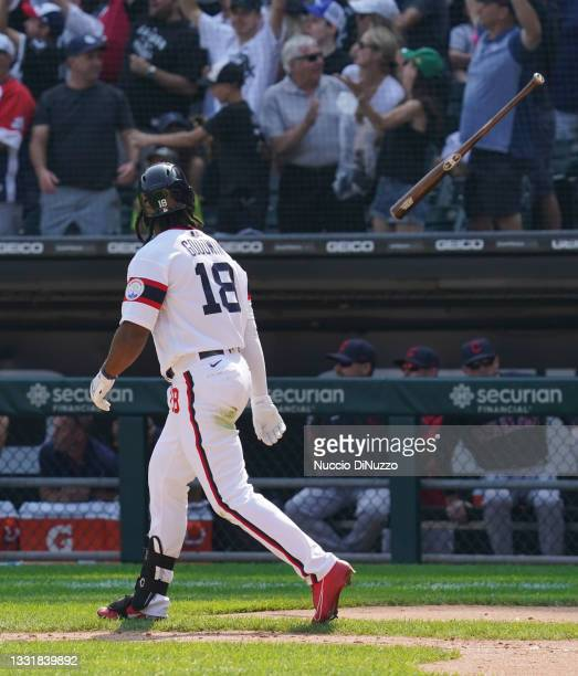 Brian Goodwin of the Chicago White Sox tosses his bat following his walk-off home run during the ninth inning of a game against the Cleveland Indians...