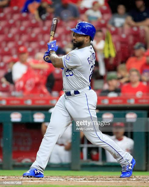 Brian Goodwin of the Kansas City Royals hits a RBI single in the second inning against the Cincinnati Reds at Great American Ball Park on September...