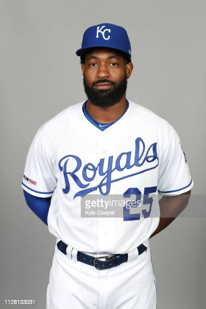 Brian Goodwin of the Kansas City Royals poses during Photo Day on Thursday February 21 2019 at Surprise Stadium in Surprise Arizona