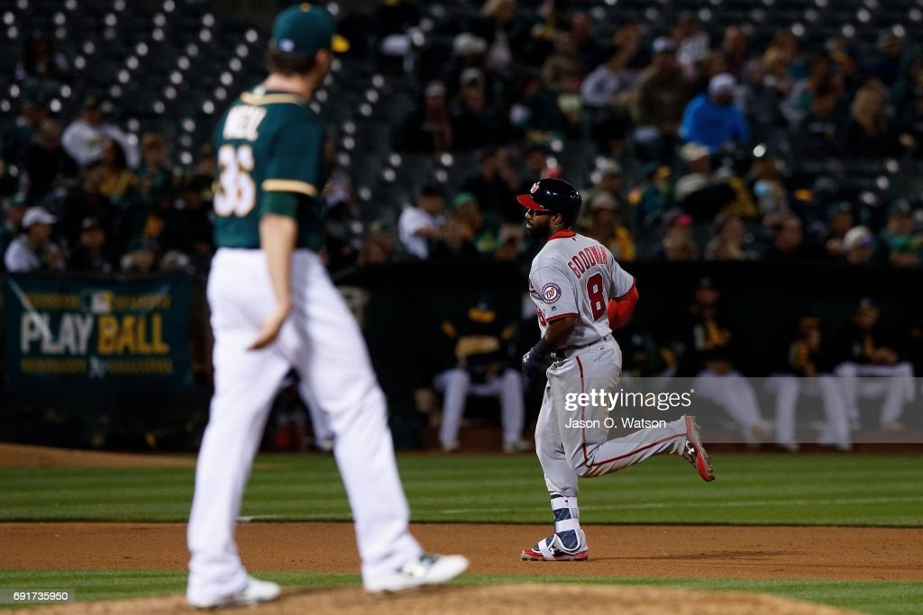 Brian Goodwin #8 of the Washington Nationals rounds the bases after hitting a home run off of Zach Neal #36 of the Oakland Athletics during the seventh inning at the Oakland Coliseum on June 2, 2017 in Oakland, California. The Washington Nationals defeated the Oakland Athletics 13-3.