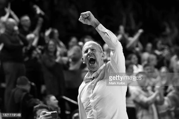 Brian Goorjian head coach of the Hawks celebrates victory during the round 21 NBL match between the Illawarra Hawks and the Perth Wildcats at WIN...