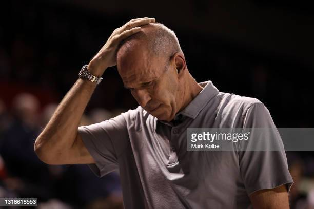 Brian Goorjian head coach of the Hawks shows his frustration during the round 19 NBL match between the Illawarra Hawks and Melbourne United at WIN...