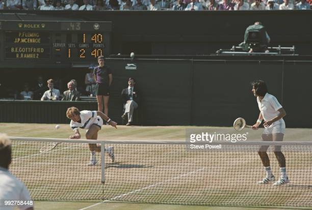 Brian Gottfried of the United States and Raul Ramírez of Mexico during their Men's Doubles Final against Peter Fleming and John McEnroe at the...