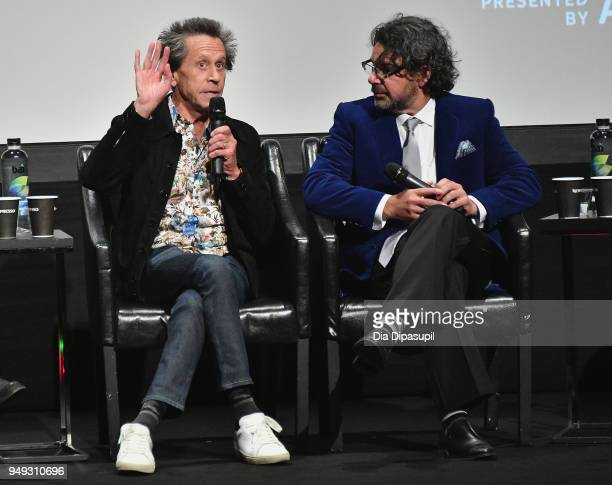 Brian Grazer and Ken Biller speak onstage at the Genius Picasso premiere during the 2018 Tribeca Film Festival at BMCC Tribeca PAC on April 20 2018...