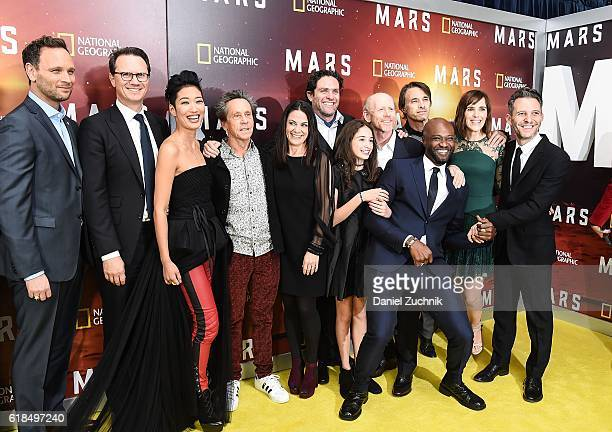 Brian Grazer Courteney Monroe and Ron Howard with the cast and crew attend the National Geographic Channel 'MARS' New York Premiere at the School of...