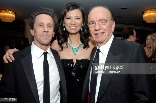 Brian Grazer Wendi Deng and Rupert Murdoch during Fox Searchlight's 2007 Golden Globe After Party in Los Angeles California United States