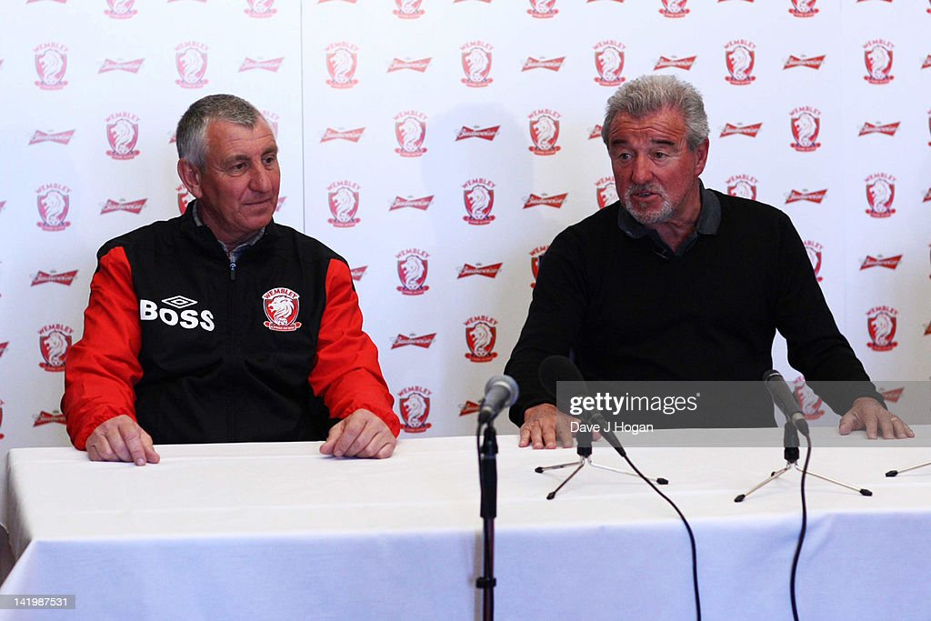 Brian Gumm and Terry Venables pose at a press conference as Terry Venables announces his return to UK football as coach of non-league Wembley FC to see how far he can take them in The FA Cup with Budweiser at Vale Farm on March 28, 2012 in London, England.
