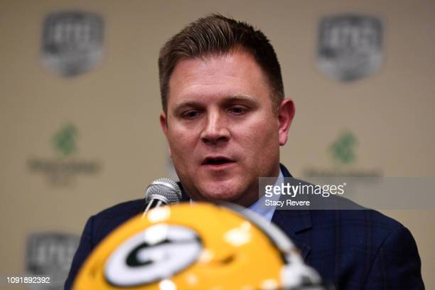 Brian Gutekunst Genral Manager of the Green Bay Packers speaks to the media during a press conference introducing Matt LaFleur as head coach at...