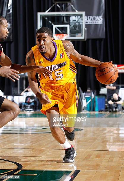Brian Hamilton of the Los Angeles DFenders drives to the basket against the Springfield Armor during the 2012 NBA DLeague Showcase on January 9 2012...
