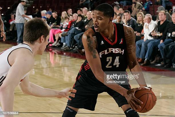 Brian Hamilton of the Utah Flash defends the ball against the Idaho Stampede at Qwest Arena on December 11 2010 in Boise Idaho NOTE TO USER User...