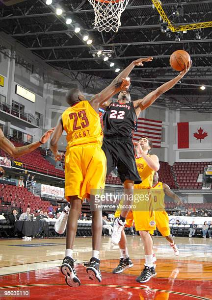 Brian Hamilton of the Utah Flash goes to the basket against Anthony Kent of the Fort Wayne Mad Ants during the 2010 DLeague Showcase at Qwest Arena...