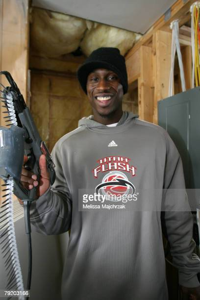 Brian Hamilton of the Utah Flash helps in the building of a home for Habitat for Humanity on January 24 2008 in Orem Utah NOTE TO USER User expressly...