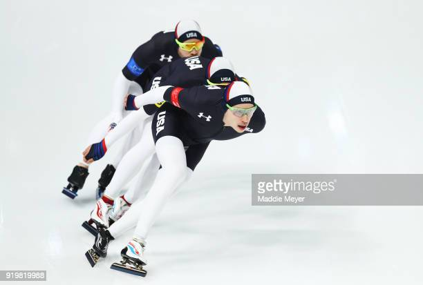 Brian Hansen Emery Lehman and Joey Mantia of the United States compete during the Men's Team Pursuit Speed Skating Quarter Finals on day nine of the...