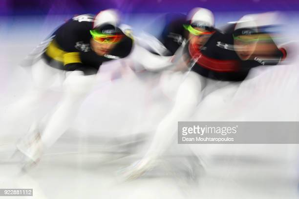 Brian Hansen Emery Lehman and Jonathan Garcia of the United States compete during the Speed Skating Men's Team Pursuit Final D against Canada on day...