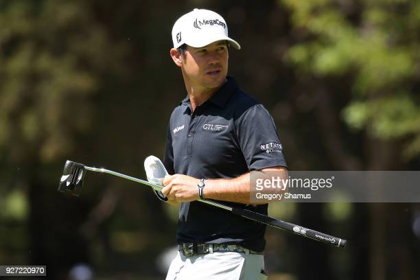 Brian Harman looks on as he walks off the second tee during the final round of World Golf ChampionshipsMexico Championship at Club De Golf...