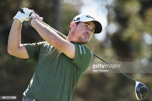 Brian Harman of the United States hits his tee shot on the 18th hole during the third round of the CJ Cup at Nine Bridges on October 21 2017 in Jeju...