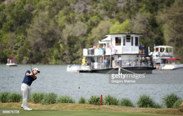 Brian Harman of the United States plays a shot on the 14th hole during the second round of the World Golf ChampionshipsDell Match Play at Austin...