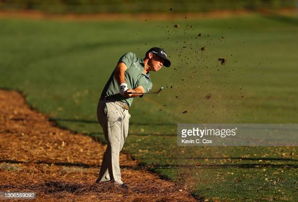Brian Harman of the United States plays a shot on the 18th hole during the first round of THE PLAYERS Championship on THE PLAYERS Stadium Course at...