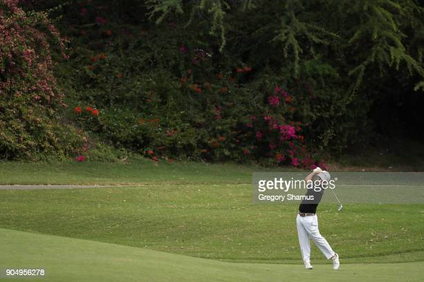 Brian Harman of the United States plays a shot on the fifth hole during the final round of the Sony Open In Hawaii at Waialae Country Club on January...