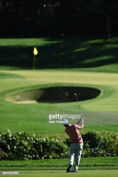 Brian Harman of the United States plays his approach shot on the 3rd hole during the third round of the CJ Cup at Nine Bridges on October 21 2017 in...