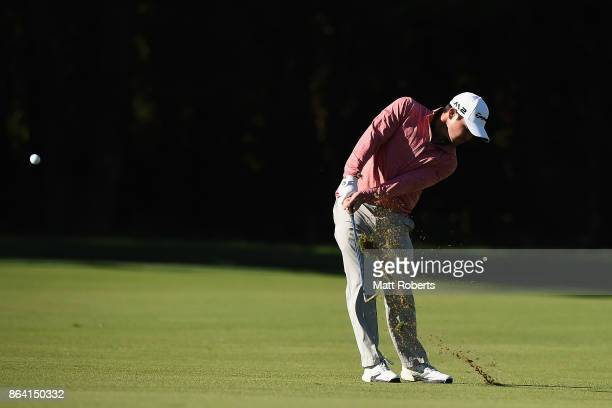 Brian Harman of the United States plays his second shot on the 3rd hole during the third round of the CJ Cup at Nine Bridges on October 21 2017 in...