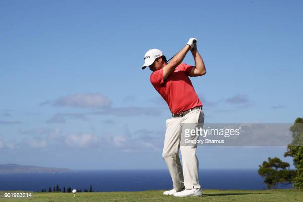 Brian Harman of the United States plays his shot from the 17th tee during the third round of the Sentry Tournament of Champions at Plantation Course...