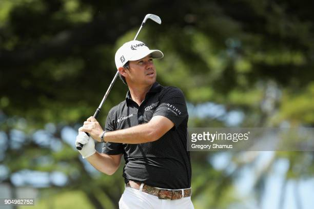 Brian Harman of the United States plays his shot from the fourth tee during the final round of the Sony Open In Hawaii at Waialae Country Club on...