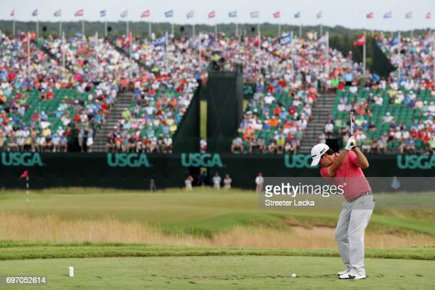 Brian Harman of the United States plays his shot from the ninth tee during the third round of the 2017 US Open at Erin Hills on June 17 2017 in...