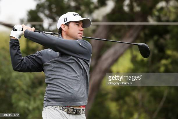 Brian Harman of the United States plays his shot from the second tee during the third round of the World Golf ChampionshipsDell Match Play at Austin...
