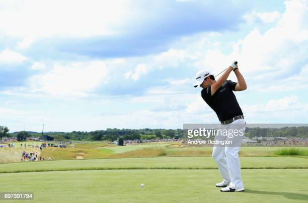 Brian Harman of the United States plays his shot from the seventh tee during the final round of the 2017 US Open at Erin Hills on June 18 2017 in...