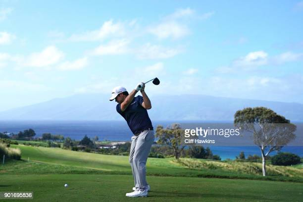 Brian Harman of the United States plays his shot from the seventh tee during the second round of the Sentry Tournament of Champions at Plantation...