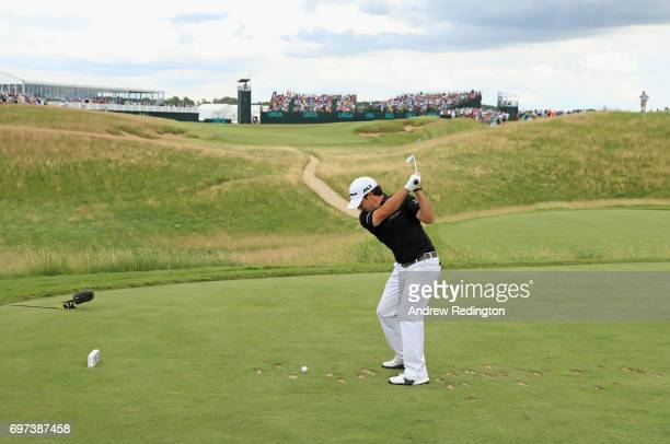 Brian Harman of the United States plays his shot from the sixth tee during the final round of the 2017 US Open at Erin Hills on June 18 2017 in...