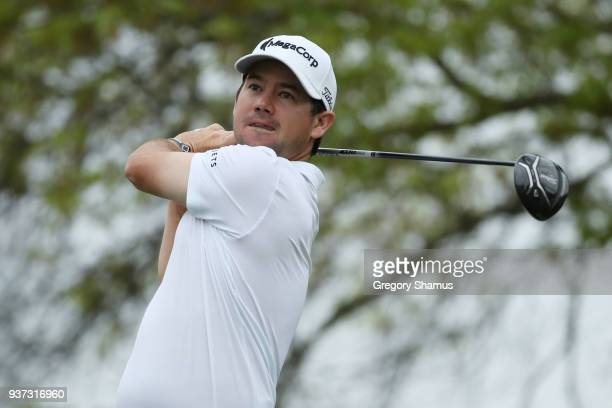 Brian Harman of the United States plays his shot from the sixth tee during the fourth round of the World Golf ChampionshipsDell Match Play at Austin...