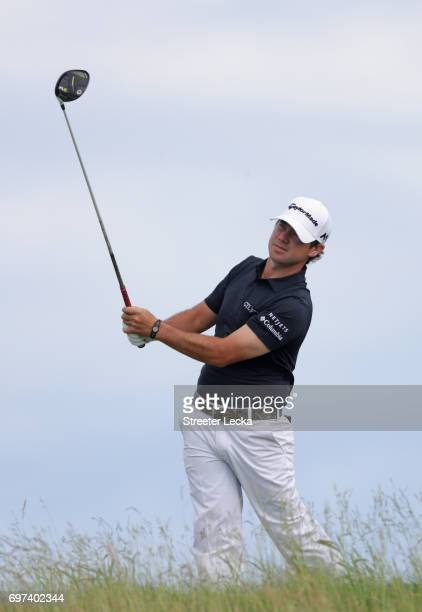 Brian Harman of the United States plays his shot from the tenth tee during the final round of the 2017 US Open at Erin Hills on June 18 2017 in...