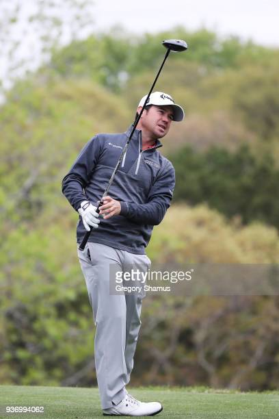 Brian Harman of the United States plays his shot from the third tee during the third round of the World Golf ChampionshipsDell Match Play at Austin...