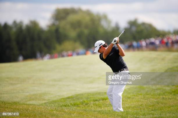 Brian Harman of the United States plays his shot on the first hole during the final round of the 2017 US Open at Erin Hills on June 18 2017 in...