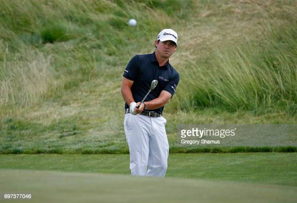 Brian Harman of the United States plays his shot on the second hole during the final round of the 2017 US Open at Erin Hills on June 18 2017 in...