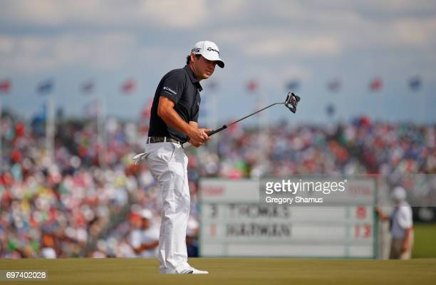 Brian Harman of the United States putts on the eighth green during the final round of the 2017 US Open at Erin Hills on June 18 2017 in Hartford...