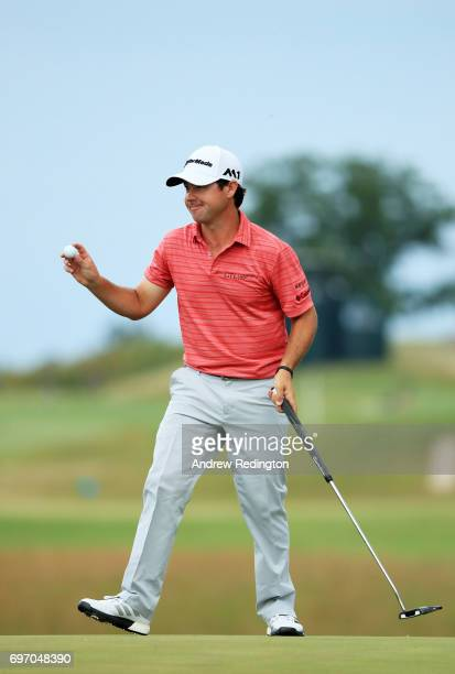 Brian Harman of the United States reacts after finishing on the 18th green during the third round of the 2017 US Open at Erin Hills on June 17 2017...