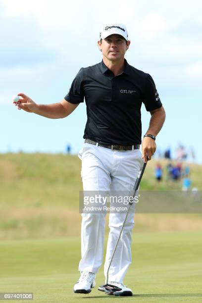 Brian Harman of the United States reacts after making par on the ninth green during the final round of the 2017 US Open at Erin Hills on June 18 2017...