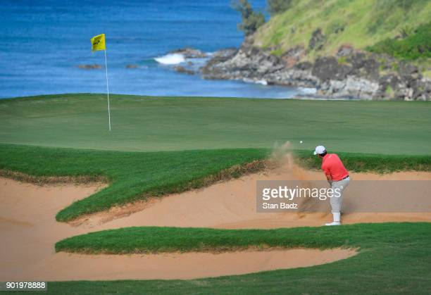 Brian Harman plays a bunker shot on the 11th hole during the third round of the Sentry Tournament of Champions at Plantation Course at Kapalua on...
