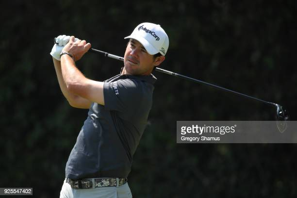 Brian Harman plays a shot on the driving prior to World Golf ChampionshipsMexico Championship at Club de Golf Chapultepec on February 28 2018 in...