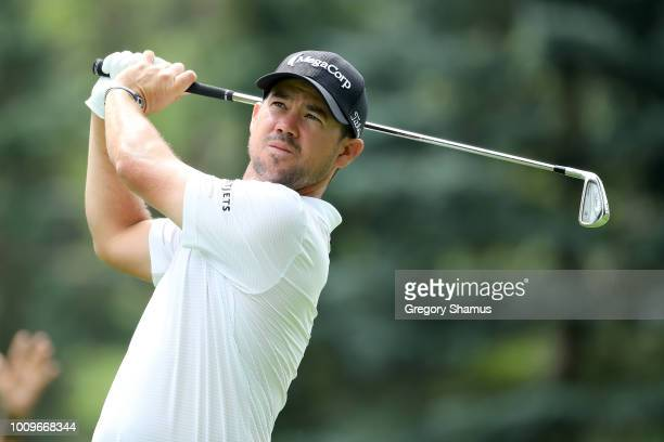 Brian Harman plays his shot from the seventh tee during World Golf ChampionshipsBridgestone Invitational Round One at Firestone Country Club South...